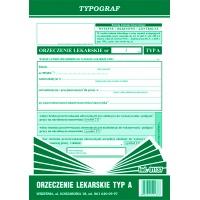 Orzeczenie lekarskie TYP A, A5, TYPOGRAF, 01137, Budowlane, Druki akcydensowe