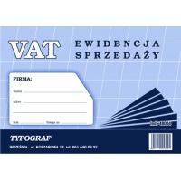 Ewidencja VAT sprzedaży, A4, TYPOGRAF, 48004, offsetowy,, Ewidencje podatkowe, Druki akcydensowe