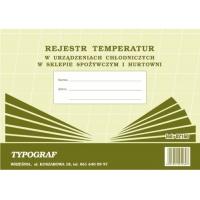 Rejestr temperatur w urządzeniach chłodniczych w sklepie spożywczym i hurtowni, A4, TYPOGRAF, 02160, offsetowy, Rejestry do systemu HACCP, Druki akcydensowe