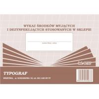 Wykaz środków myjących i dezynfekujących stosowanych w sklepie, A5, TYPOGRAF, 02167, offsetowy, Rejestry do systemu HACCP, Druki akcydensowe