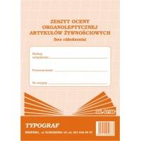 Zeszyt oceny organoleptycznej artykułów żywnościowych (bez chłodzenia), A5, TYPOGRAF, 02168, offsetowy, Rejestry do systemu HACCP, Druki akcydensowe