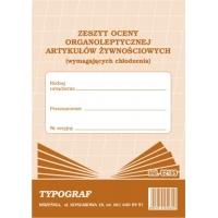 Zeszyt oceny organoleptycznej artykułów żywnościowych (wymagających chłodzenia), A5, TYPOGRAF, 02169, offsetowy, Rejestry do systemu HACCP, Druki akcydensowe