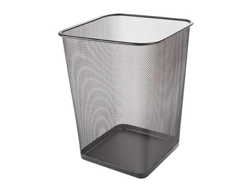 Kosz na śmieci Q-CONNECT Office Set, metalowy, 18l, czarny, Kosze metal, Wyposażenie biura