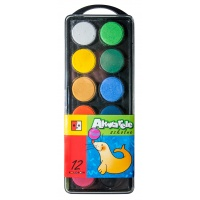 Farby akwarelowe JEDNOŚĆ, zawieszka, 12 kolorów, Plastyka, Artykuły szkolne