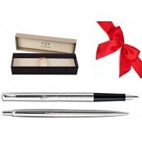 Zestaw Prezentowy Pióro + Długopis PARKER Jotter Classic srebrny CT w pudełku, Zestawy prezentowe, Artykuły do pisania i korygowania