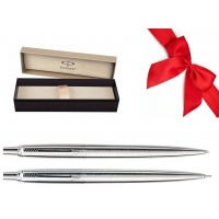 Zestaw Prezentowy Pióro + Ołówek PARKER Jotter Classic srebrny CT w pudełku, Zestawy prezentowe, Artykuły do pisania i korygowania