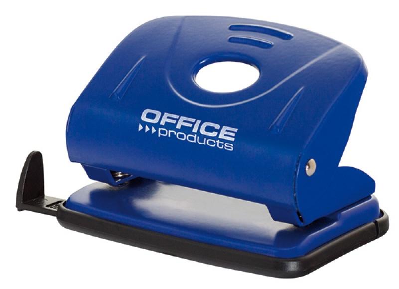 Dziurkacz OFFICE PRODUCTS, dziurkuje do 25 kartek, metal, niebieski, Dziurkacze, Galanteria biurowa