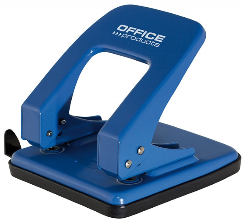Dziurkacz OFFICE PRODUCTS, dziurkuje do 40 kartek, metal, niebieski, Dziurkacze, Galanteria biurowa