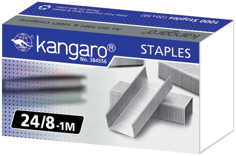 Zszywki KANGARO, No. 24/8-1M, 1000 szt., Zszywki, Drobne akcesoria biurowe