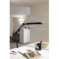 Lampka energooszczędna na biurko MAULatlantic, 11W, mocowana zaciskiem, biała, Lampki, Urządzenia i maszyny biurowe