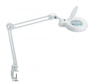 Energy-saving desktop lamp with magnifier, MAULviso, 22W, clamp mounted, white