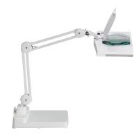 Lampka energooszczędna z lupą na biurko MAULvitrum, 2x9W, biała, Lampki, Urządzenia i maszyny biurowe