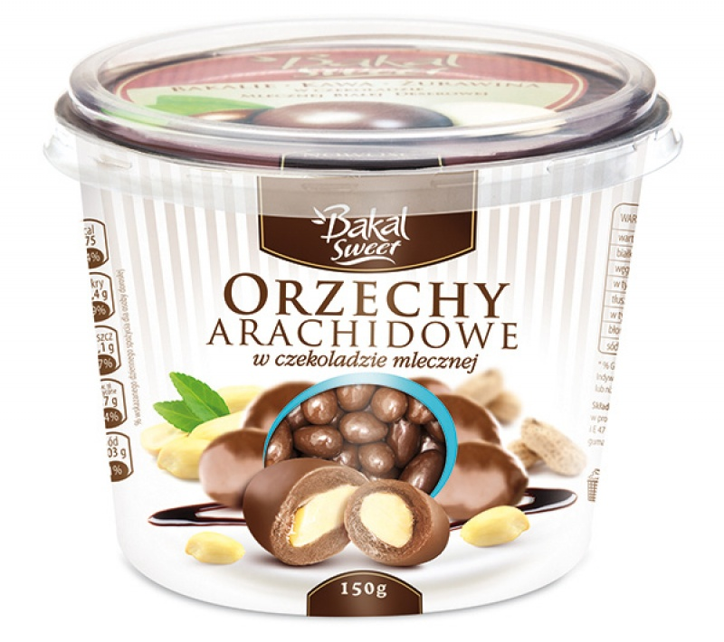 Kubek orzechów arachidowych w czekoladzie mlecznej BAKAL Sweet, 150g, Przekąski, Artykuły spożywcze