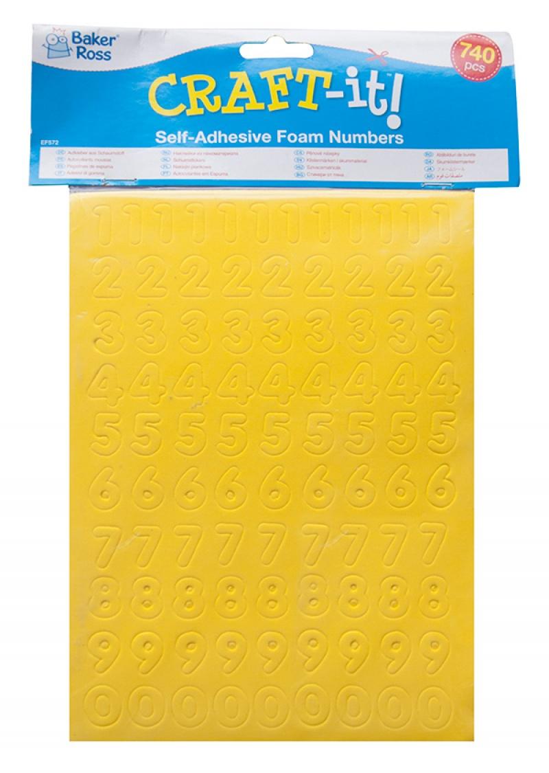 Samoprzylepne cyferki piankowe BAKER ROSS, 740szt., mix kolorów, Produkty kreatywne, Artykuły szkolne