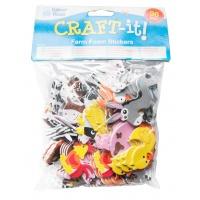 Naklejki piankowe BAKER ROSS, zwierzęta z farmy, 96szt., mix kolorów, Produkty kreatywne, Artykuły szkolne