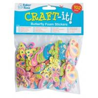Naklejki piankowe BAKER ROSS, motyle, 102szt., mix kolorów, Produkty kreatywne, Artykuły szkolne