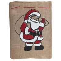 Gift sack, FOLIA PAPER, with Santa Claus, 25x35cm, natural