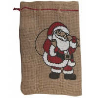 Gift sack, FOLIA PAPER, with Santa Claus, 17x25cm, natural