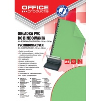 Binding covers, OFFICE PRODUCTS, PVC, A4, 200 micr, 100 pcs, green, transparent