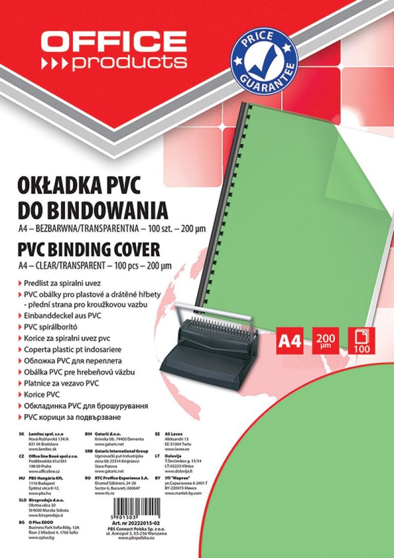 Okładki do bindowania OFFICE PRODUCTS, PVC, A4, 200mikr., 100szt., zielone transparentne, Akcesoria do laminacji i bindowania, Prezentacja