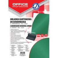 Binding covers, OFFICE PRODUCTS, cardboard, A4, 250 gsm, glossy, 100 pcs, green