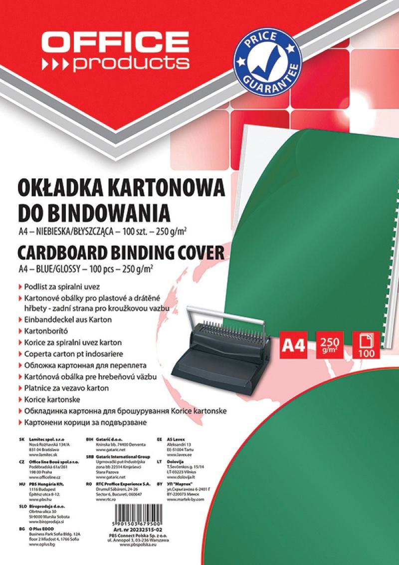 Okładki do bindowania OFFICE PRODUCTS, karton, A4, 250gsm, błyszczące, 100szt., zielone, Akcesoria do laminacji i bindowania, Prezentacja