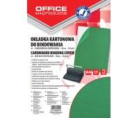 Okładki do bindowania OFFICE PRODUCTS, karton, A4, 250gsm, skóropodobne, 100szt., zielone, Akcesoria do laminacji i bindowania, Prezentacja