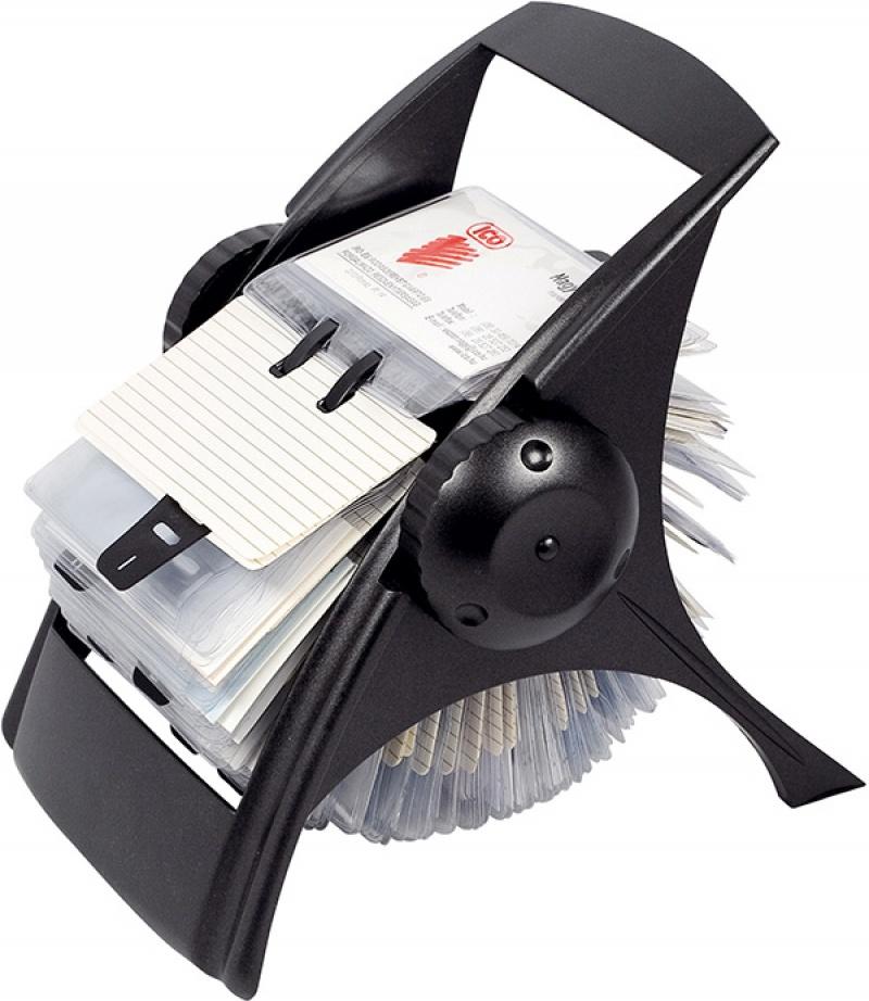 Wizytownik obrotowy ICO, na 400 wizytówek, czarny, Wizytowniki, Drobne akcesoria biurowe
