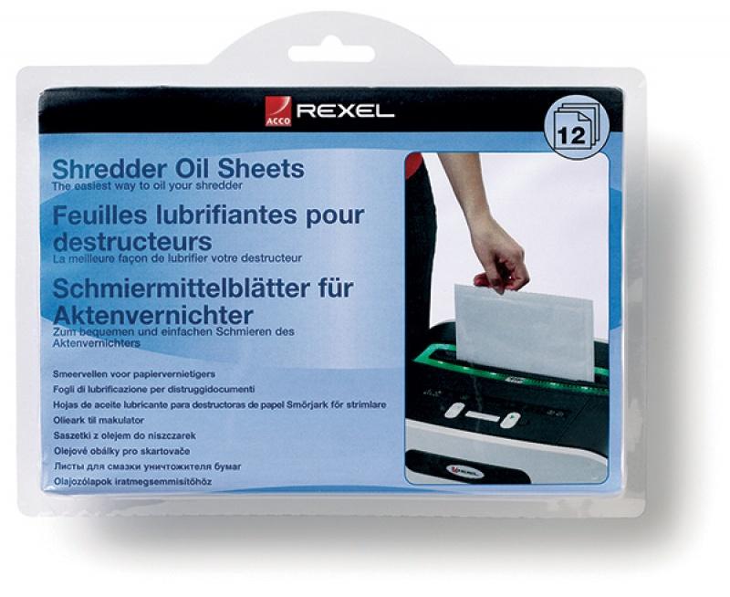Arkusze smarujące REXEL, do niszczarek, 12szt., Niszczarki, Urządzenia i maszyny biurowe