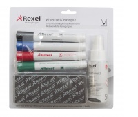 REXEL board kit, includes spray, non-magnetic sponge and 4 markers