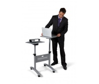NOBO projection multimedia table, mobile, metal, double-deck, silver