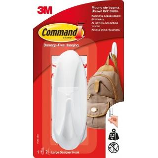 Hak wielokrotnego użytku COMMAND™ Designer (17083 PL), duży, biały, Haczyki, Prezentacja