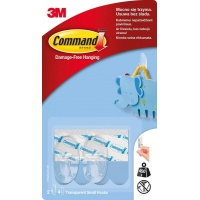 Hooks for multiple use, COMMAND™ (17092CLR PL), small, 2 pcs, transparent