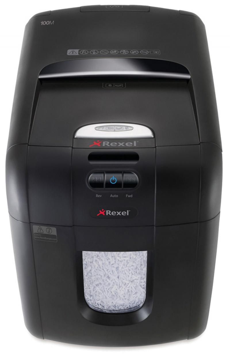 Niszczarka automatyczna REXEL Auto+ 100M EU, mikro ścinki, P-5, 100 kart., 26l, karty kredytowe, czarna, Niszczarki, Urządzenia i maszyny biurowe