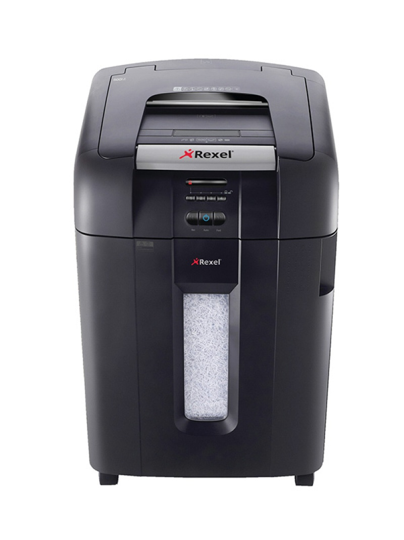 Niszczarka automatyczna REXEL Auto+ 500M, konfetti, P-5, 500 kart., 80l, karty kredytowe/CD, czarna, Niszczarki, Urządzenia i maszyny biurowe