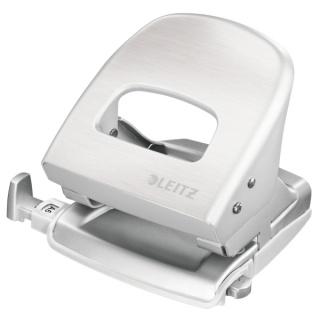 Dziurkacz duży metalowy Leitz Style, 10 lat gwarancji, 30 kartek, biały, Dziurkacze, Drobne akcesoria biurowe