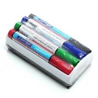 Zestaw markerów suchościeralnych Granit + gąbka, 4 kolory, Markery, Artykuły do pisania i korygowania