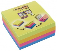 Multi-kostka samoprzylepna POST-IT® Super Sticky (2014-SC-BYFG),76x76mm, 4x75 kart., mix kolorów, Bloczki samoprzylepne, Papier i etykiety