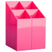 Przybornik na biurko ICO, z przegrodami, różowy, Przyborniki na biurko, Drobne akcesoria biurowe