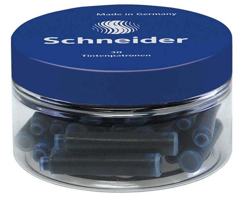 Naboje do piór SCHNEIDER, szklany słoik, 30 szt., niebieski, Cienkopisy, pióra kulkowe, Artykuły do pisania i korygowania