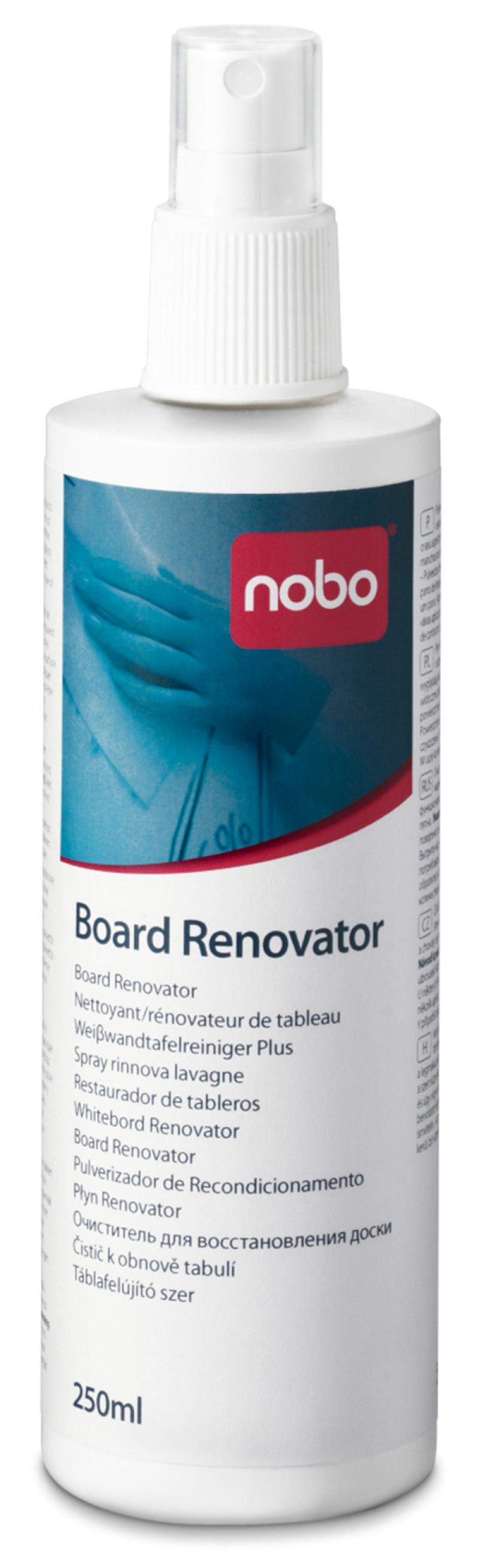Płyn do renowacji tablic suchościeralnych NOBO, 250ml, Bloki, magnesy, gąbki, spraye do tablic, Prezentacja