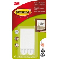Velcro strips, COMMAND™ (17201 PL), for hanging pictures, medium, 4 pcs, white
