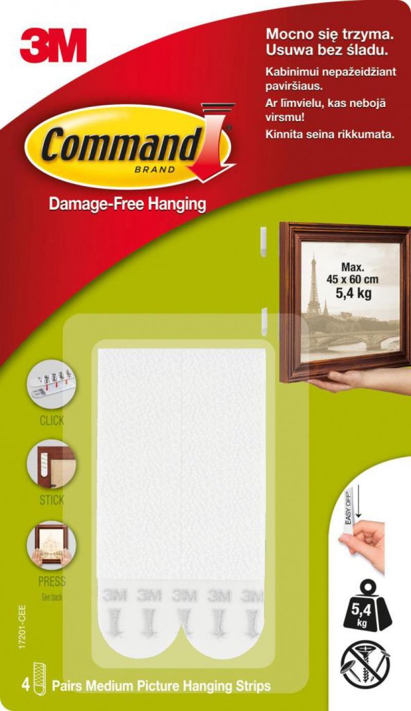Rzepy COMMAND™ (17201 PL), do wieszania obrazów, średnie, 4 szt., białe, Haczyki, Prezentacja