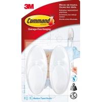 Haki łazienkowe COMMAND™ (BATH-18), średnie, 2 szt., białe, Haczyki, Prezentacja