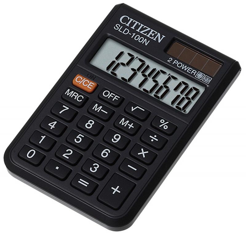Kalkulator kieszonkowy CITIZEN SLD-100N, 8-cyfrowy, 90x60mm, czarny, Kalkulatory, Urządzenia i maszyny biurowe