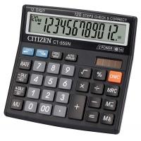 Kalkulator biurowy CITIZEN CT-555N, 12-cyfrowy, 130x129mm, czarny, Kalkulatory, Urządzenia i maszyny biurowe