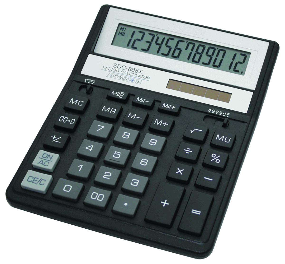 Office Calculator Citizen Sdc 888xbk 12 Digit 203x158mm Black Big Photo