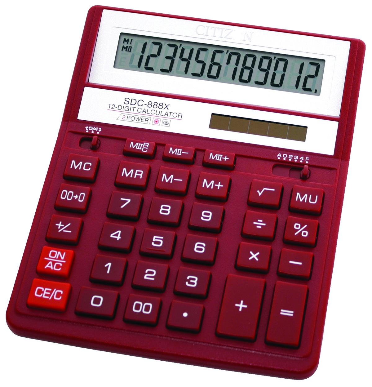 Office Calculator Citizen Sdc 888xrd 12 Digit 203x158mm Red Big Photo