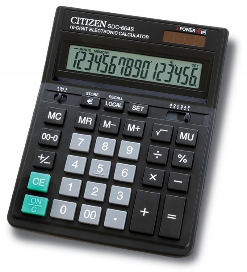 Office Calculator Citizen Sdc 664s 16 Digit 199x153mm