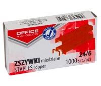 Zszywki OFFICE PRODUCTS, 24/6, miedziane, 1000szt., Zszywki, Drobne akcesoria biurowe
